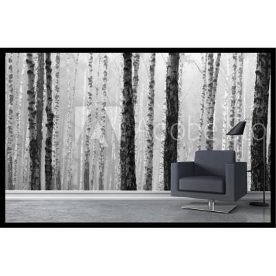 Murale - Forêt noir et blanc