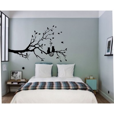 Sticker mural - Arbre chats amoureux-hibou-chat