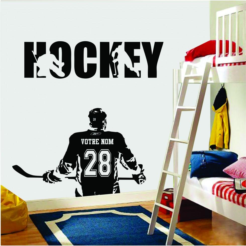 Autocollant mural joueur de hockey for Decoration chambre hockey canadien