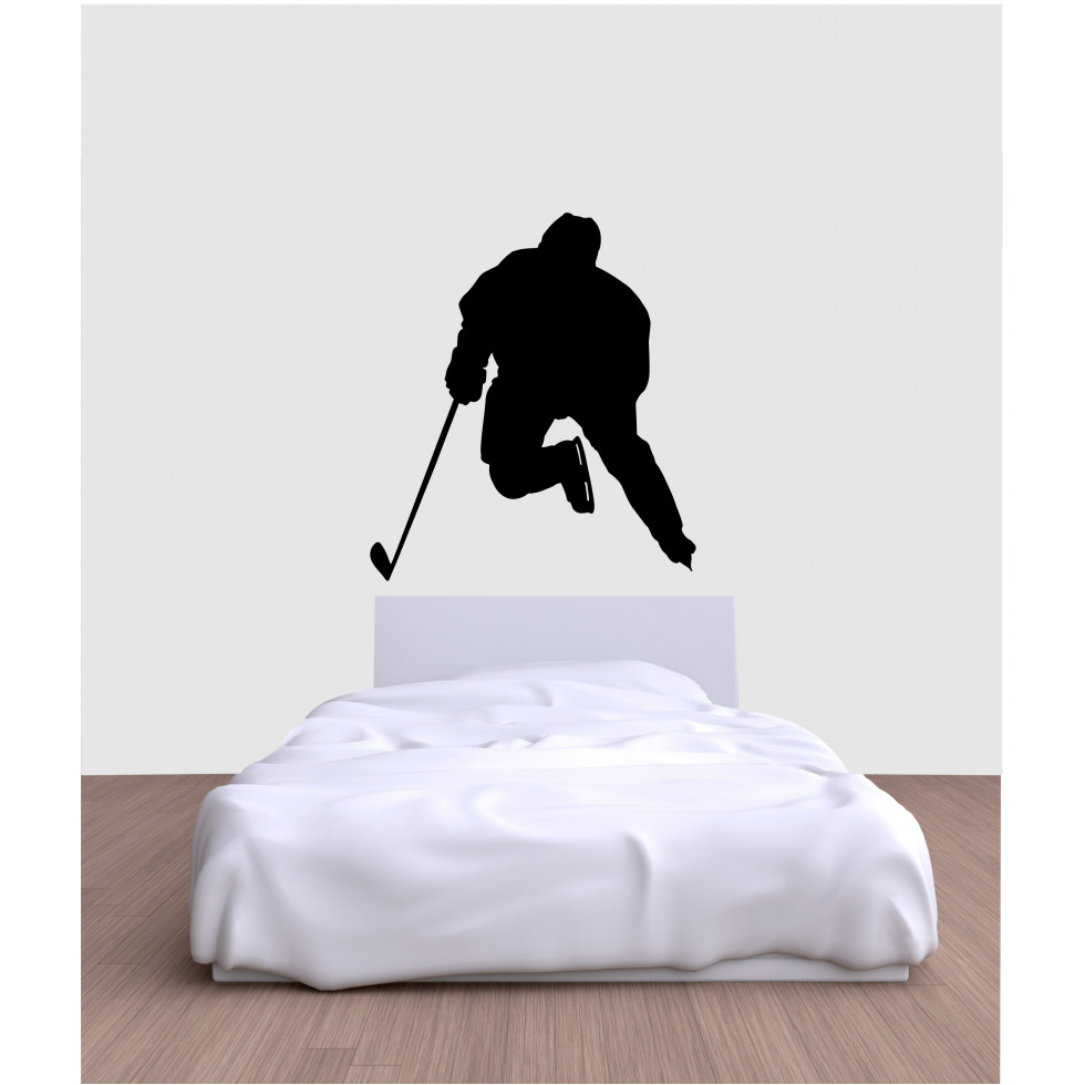 Autocollant mural silhouette joueur de hockey for Auto collant mural