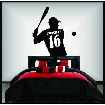Wall sticker - Baseball player back view to personalize