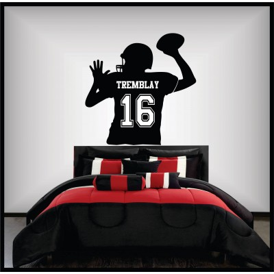 Wall sticker - Football player back view to personalize